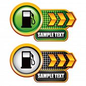 gas pump icon on gold arrow nameplate banners