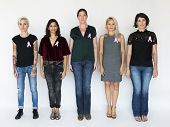 Group of Diverse People with Pink Represent Ribbon Breast Cancer Awareness poster