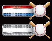 Постер, плакат: бейсбол и скрещенные биты на полосатый клетчатые баннеры