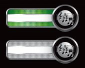 retro music notes green and silver checkered tabs