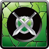 swords and shield green cracked web button