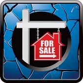 for sale sign blue cracked web button
