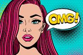 Wow Pop Art Female Face. Sexy Surprised Young Woman With Pink Hair And Open Mouth And Omg! Speech Bu poster