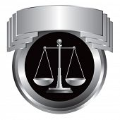 justice scales silver round display