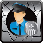 police officer gray cracked web icon