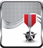 pano de fundo de prata onda quadriculada de medalha militar