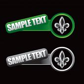 fleur de lis green and gray tilted banners