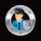 police officer silver star round frame