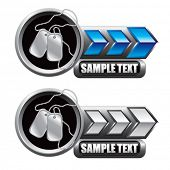 dog tags blue and white arrow nameplates