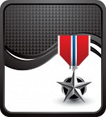 military medal black checkered wave