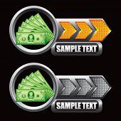 Dollar bills indicadoras de seta laranja e cinza