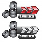 empilhados pneus indicadoras de seta vermelha e branca