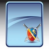 royal shield and swords blue banner