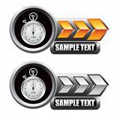 param o relógio indicadoras de seta laranja e branco
