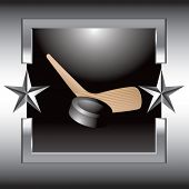 hockey stick and puck silver star frame