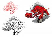 stock photo of boar  - Wild running boar as a tattoo or mascot - JPG
