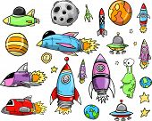 Outer Space Rocket Ship Doodle Sketch Vector Illustration Set