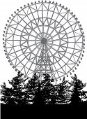 picture of ferris-wheel  - ferris wheel and trees isolated on white background - JPG