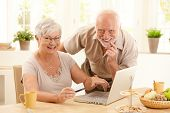 Portrait of happy old couple using credit card and laptop computer to shop online, woman pointing at