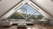 Classic Mezzanine Loft With Big Window And Sea Panorama, Living Room, Summer Or Spring Garden Meadow poster