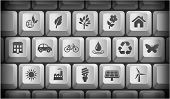 Environment Icons on Gray Computer Keyboard Buttons Original Illustration