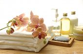 picture of massage therapy  - Essential body massage oils in bottles for relaxation and body treatment - JPG