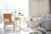 Modern interior of cozy living room poster