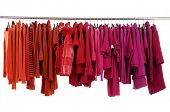 Red female jacket on Hangers