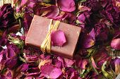 soap with dry rose petals