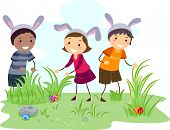 Illustration of Kids on an Easter Egg Hunt