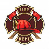 Fire Department Emblem With Red Helmet And Axes. Firefighter Badge Drawn In Engraving Style. Vector  poster