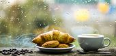 Fresh Brewed Coffee In White Cup Or Mug On Windowsill. Coffee Drink With Croissant Dessert. Enjoying poster