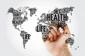 Health And Life World Map In Typography, Sport, Health, Fitness, Word Cloud With Marker poster