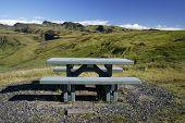 Wooden Bench In Beautiful Landscape