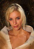 Blond Lady With Springbok Skin Around Shoulders