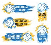 Volleyball Sport Game Tournament Vector Icons Of Balls, Championship Match Winner Trophy Cup And Ref poster