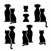 Set Of Abstract Black Cat And Dog Silhouettes poster