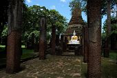 Wat Chang With Buddha Statues Historical Park In Kamphaeng Phet, Thailand (a Part Of The Unesco Worl poster