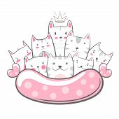 Cute, Funny - Cat. Kitty Characters. Hand Draw poster