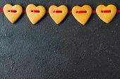 Valentines Day Greeting Card With Gingerbread Cookies In The Shape Of A Heart. poster