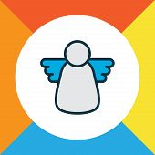 Christmas Angel Icon Colored Line Symbol. Premium Quality Isolated Halo Element In Trendy Style. poster