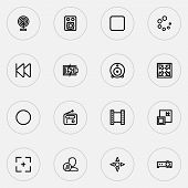 Music Icons Line Style Set With Video, Previous, Web Cam And Other Target Elements. Isolated  Illust poster