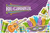Vector Greeting Card For Rio Carnival With Copy Space, Illustration Of Colorful Venetian Mask, Drums poster