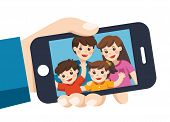 Human Hand Hold Device And Selfie. Happy Family Selfie Photo On Smartphone Display. Selfie Photo Wit poster