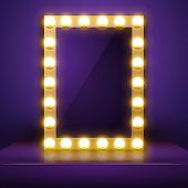 Make Up Mirror With Light. Vector Artist Dressing Room. Make-up Mirror. poster