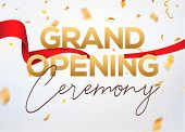 Grand Opening Ceremony Poster Concept Invitation. Grand Opening Event Decoration Party Template. poster