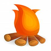 Flame Bonfire Icon. Cartoon Of Flame Bonfire Vector Icon For Web Design Isolated On White Background poster