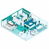 Trendy Isometric People Illustration Of Hospitals With A Glass Facade Is A Front View Of The Hospita poster
