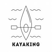 Line Icon With Summer Holiday Activity Concept. Kayak With Paddle In The River. Kayaking And Water A poster