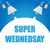 Super Wednesday Announcement, Hand Holding Megaphone And Specch Bubble Announcing Big Sale, Vector E poster